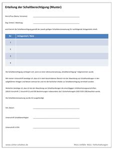 Musterformular zur Erteilung der Schaltberechtigung Elektrofachkraft Schaltbefähigung