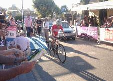 Christelle au départ du prologue du Tour de l'Ardèche