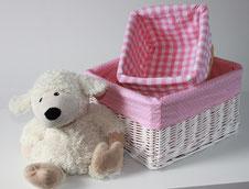 Körbchen Aufbewahrung rosa für Baby- und Kinderzimmer