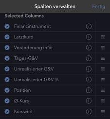 Screenshot CapTrader App Spalten