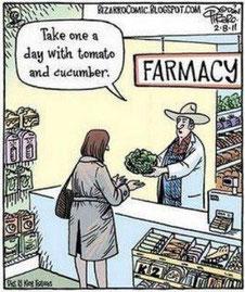 「キュウリとトマトを1日に一個ずつ食べて下さいね」・・・pharmacyファーマシー(薬局)とfarmacy(農場)をかけて・・・