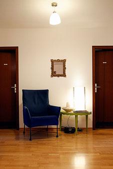 Wartebereich der Psychotherapeutischen Praxis Christine Thoni, Mannheim, Q4,8 (Foto: Mechthild Stein)