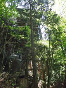 おおきな岩の上に建つ本堂