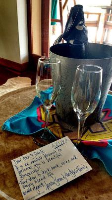 Champagne on arrival at Azura Benguerra, Mozambique. Dante Harker