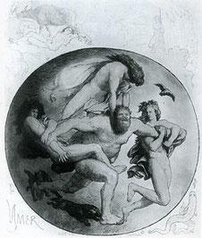 Ymir wird von Odin und seinen Brüdern getötet; Bild: Lorenz Frølich