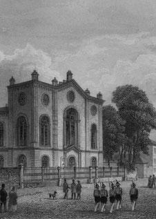 Die Synagoge auf einem Stich aus dem 19. Jh.