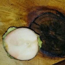 Aufgeschnittener Avocadokern