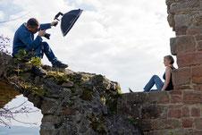 """Fotoshooting mit Lotta """"auf"""" der Burgruine Frauenberg, Foto: Renate Bostroem"""