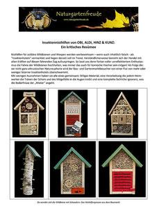 Unbrauchbare Insektennisthilfen