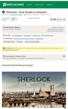 Seite des Wherigos auf geocaching.com