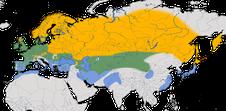 Karte zur Verbreitung der Rohrammer (Emberiza schoeniclus)