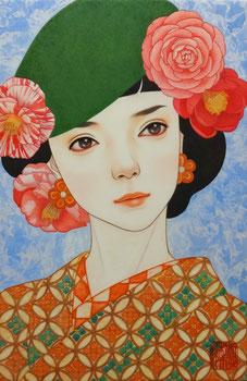 「春よ」 雲肌麻紙に岩絵具、水干絵具、墨、顔彩 P4