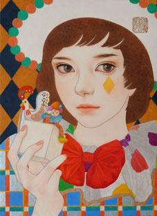 「夢のつづき」雲肌麻紙に岩絵具、水干絵具、墨、顔彩F4