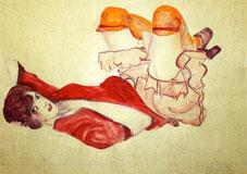 Wally in roter Bluse mit erhobenen Knien mit Ehering nach Egon Schiele