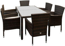tavolo #sedie #polyrattan #marrone #caffè #impilabili