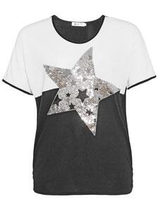 leichtes Damen T-Shirt in großen Größen mit Spitze und Perlen am V-Ausschnitt