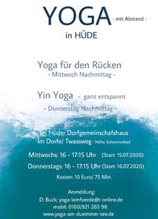 Ab 15.7.20 bietet Yogalehrerin Dagmar Buck jeden Mittwoch und Donnerstag von 16 bis 17.15 Uhr Yoga an. Anmeldung unter 0160/92126598 oder Yoga-lemfoerde@t-online.de. Kosten 10 Euro.