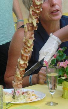 Mozarella-Bacon-Spieß