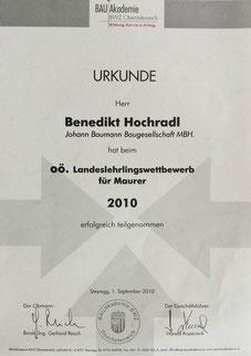 Benedikt Hochradl, erfolgreich teilgenommen beim BWZ OÖ Landeslehrlingswettbewerb 2010, seit 2007 im Betrieb tätig