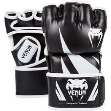 VENUM MMA BLACK/WHITE CHALLENGER FIGHT GLOVES - 4OZ