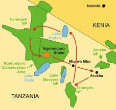 Campingsafari Tanzania ab/bis Arusha