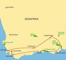 Karte Südafrika Kleingruppenreise 4 Tage Gardenroute