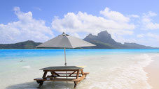 Motu picnic in Bora Bora/ white sand beach with Otemanu view