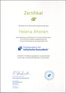Ernährungsberatung Berlin, Helena Ahonen, Fachberater für holistische Gesundheit, ganzheitliche Ernährungsberatung, Zertifikat Ernährungsberatung