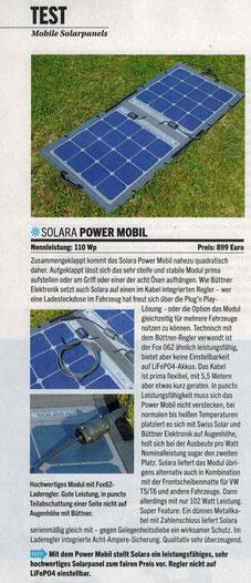 Das Power Mobil von SOLARA ein leistungsfähiges, sehr hochwertiges mobile Solarpanel zum fairen Preis. Test Mobile Solarpanele in der Zeitschrift Reisemobil Int. 9/2019 perfekt mit Empfehlung bestanden. Ideal für Camper, Van, off road, Wohnmbil, Caravan.