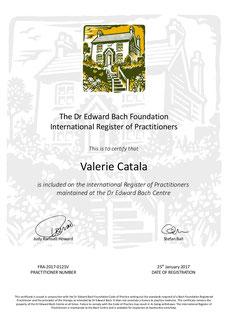 Diplôme Conseillère agréée Fleurs de Bach Centre International du Dr Bach Valérie Catala