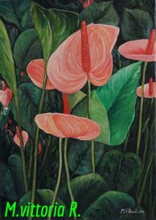 flowers anthurium, oil on canvas, cm 50x70, 2013