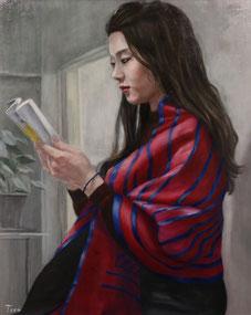 窓辺で読書 (油彩・F30)
