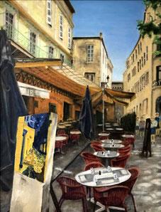 「真昼のカフェテリア  P10」     2019年7月にゴッホの歩んだ場所を旅しました。 アルル滞在中に書いたゴッホの「夜のカフェテリア」の場所を描きました。