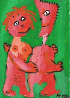 """""""Paar mit Farbkontrasten"""", Acryl und Gouache auf Papier, 24/17 cm, November 2001"""