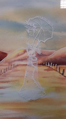Maryvonne sur une aquarelle de Martine
