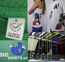 das Bild besteht aus vier Teilbildern: einmal das Logo von EarthPositive, zweimal fertiggedruckte T-shirts  mit leuchtend bunten Farben und ein Bild von der Durckmaschine im Einsatz