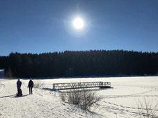 Blick auf den See Winterwandern am See mit Schlitten