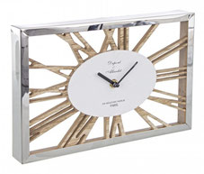 Reloj pared rectangular plateado madera