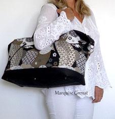 photo-sac-voyage-porté-épaule-noir-bronze-blanc-tissus-japonais-liège-luxe-noir