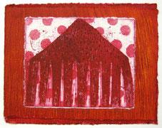 岡沢幸「Redding」         銅版画、コラージュ 204×255mm