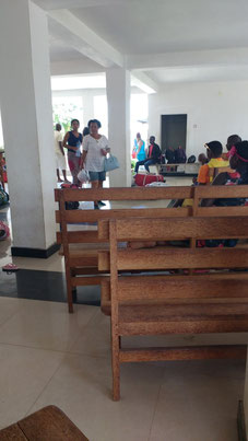 The waiting area in scorching hot Nampula, Mozambique. Dante Harker