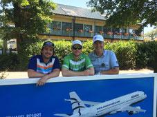 (v.l.) Hubertus Tho Rahde (GolfWeek), Jens Dantorp (Golf-Profi), Stefan Kunz (SGC)