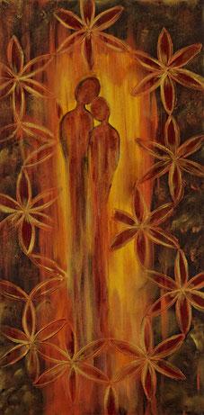 Liebespaar in Acryl auf Leinwand 40x80cm