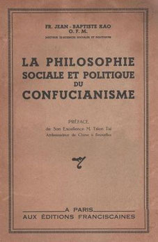 Couverture. Jean-Baptiste Kao : La philosophie sociale et politique du confucianisme