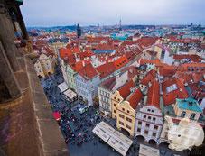 Вид на Прагу со смотровой в Староместской ратуше