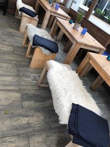 Sitzauflage Lammfell Bänke