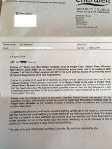 Cherwell Councils letter confirming BSA as an Asset of Community Value