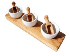3er Gewürz- und Dipschälchen FANO mit Salzschippchen