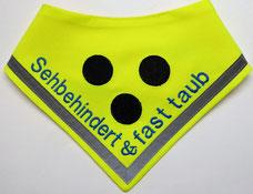 Blinden Logo, Halstuch für blinde Hunde, Blindenhalstuch, blind, neon, blind dog, halsduk, scarf
