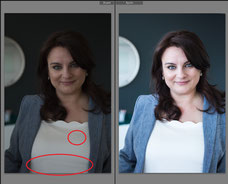 Before after of a professional corporate portrait photo of a businesswoman taken in Montreal by Marie Deschene